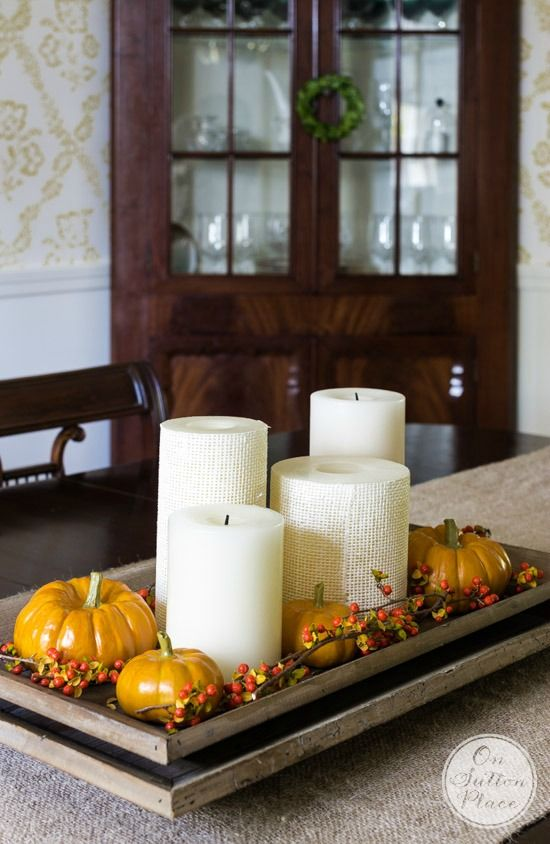 Thanksgiving/Fall Centerpiece Ideas that are easy and budget-friendly. Tips on layering and using natural elements.