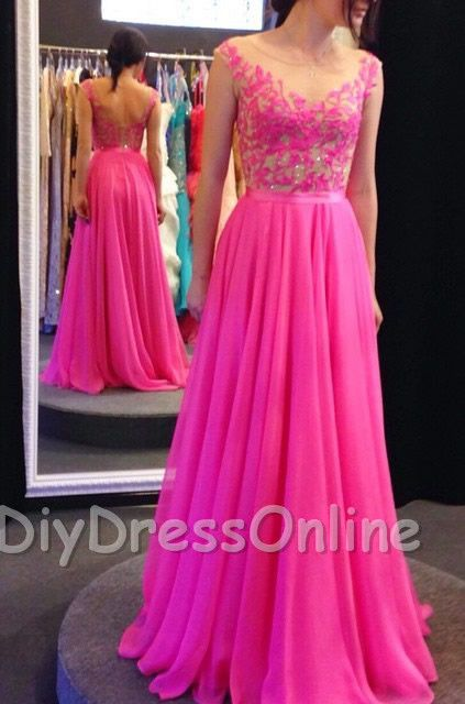 New Arrival See-through Lace Appliqued Bodice 2015 Prom Dresses Fuchsia Chiffon Formal Dresses APD1415