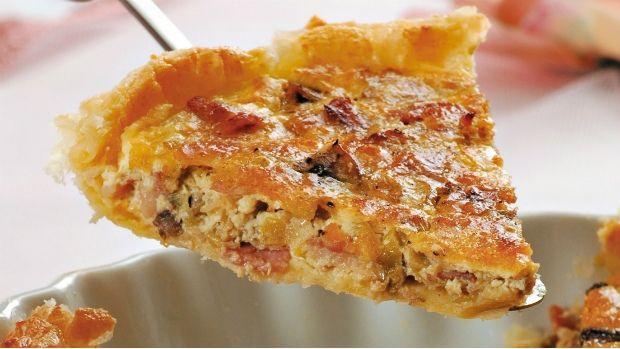 Pórkový koláč s houbami a slaninou Foto: