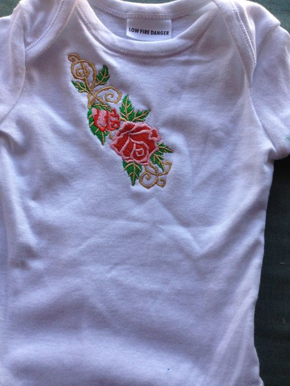 Embroidered baby onesie on Etsy, $27.40 AUD