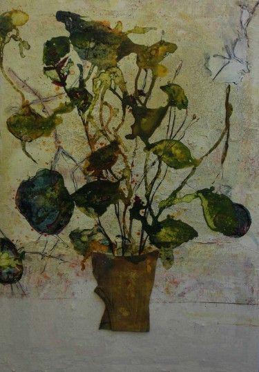"""Titels uit Joris's recente kunstwerken, met voornamelijk bloemrijke taferelen: """"vaas met acht cadeautjes"""", """"frozen roses"""", """"tuin der lusten"""", """"klaprozen""""."""