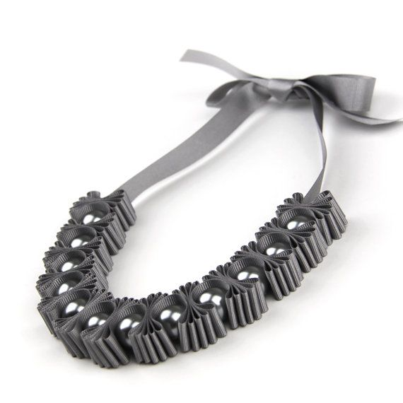 Grey Chunky 5 Pleat Statement Ribbon Necklace  Gift for Her