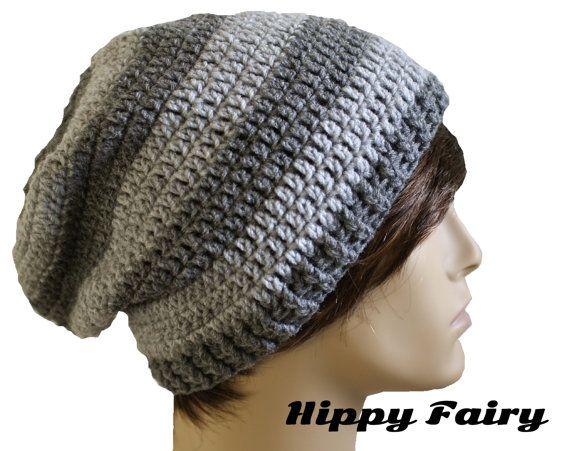 Chapéu gorro, chapéu de crochê Mens, Mens cinza gorro, gorro cinza desleixo…
