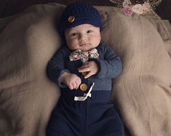 3480f707c Newborn Baby Boy Coming Home Outfit. Baby Boy Bow Tie Bodysuit with ...