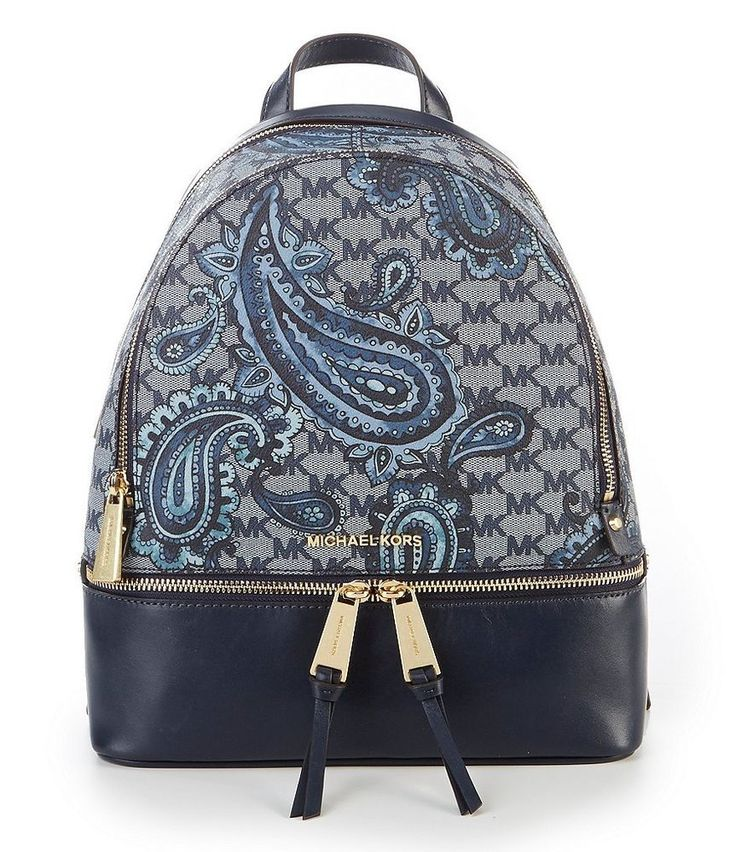 e763cf7d758c ... NWT MICHAEL Michael Kors Blue Studio Rhea Paisley Medium Zip Backpack  Bag New ...
