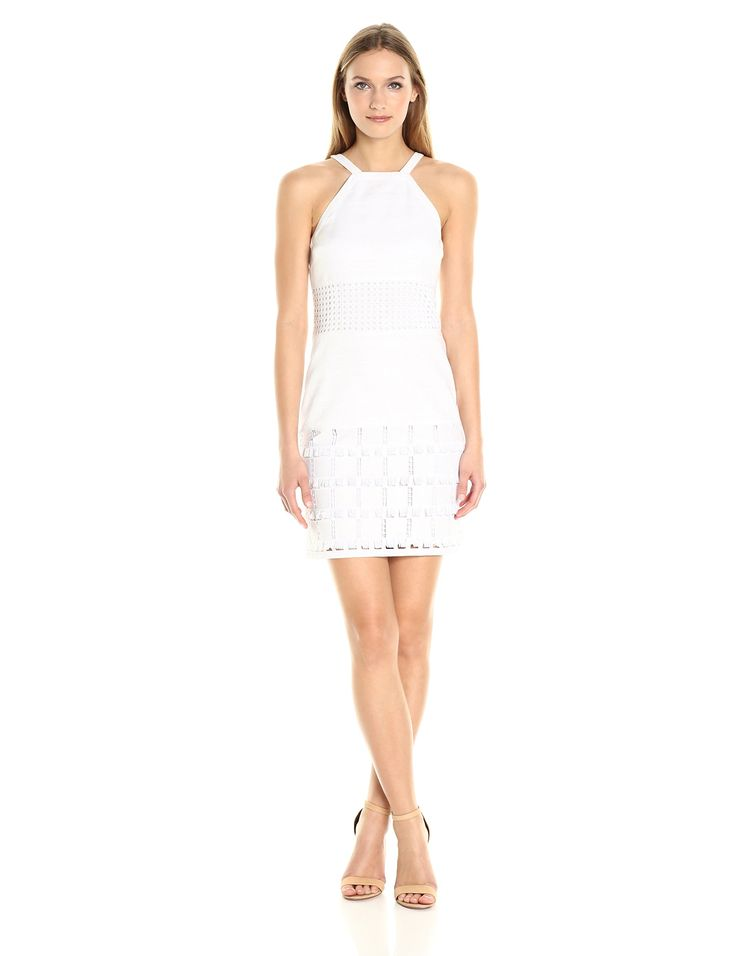 laundry BY SHELLI SEGAL Women's Linen Halter with Faux Leather Blocking, Optic White, 10