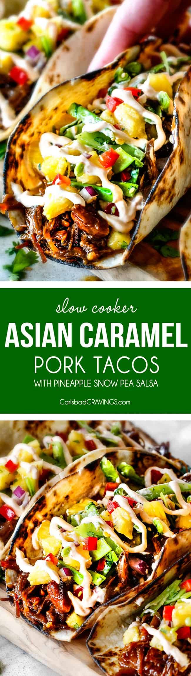 These crazy delicious Asian Pulled Pork Tacos are a symphony of flavors and textures and SO easy made in the slow cooker! They're stuffed with the most amazing juicy, tender Asian Caramel Pulled Pork piled with fresh and tangy Pineapple Snow Pea Salsa and drizzled with luxurious Sriracha Crema. via @carlsbadcraving