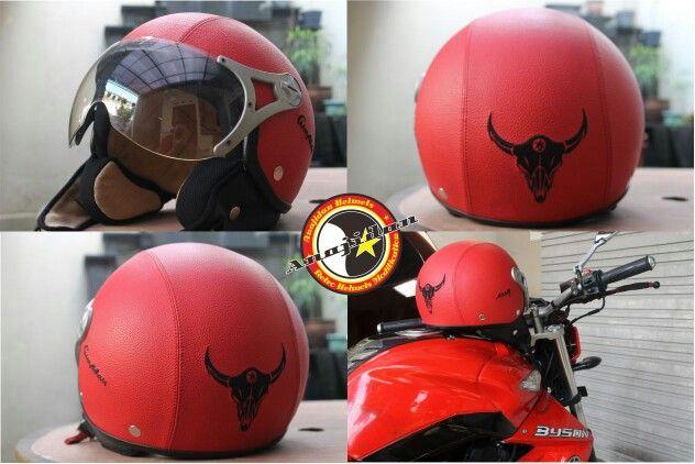 Byson with custom leather helmet