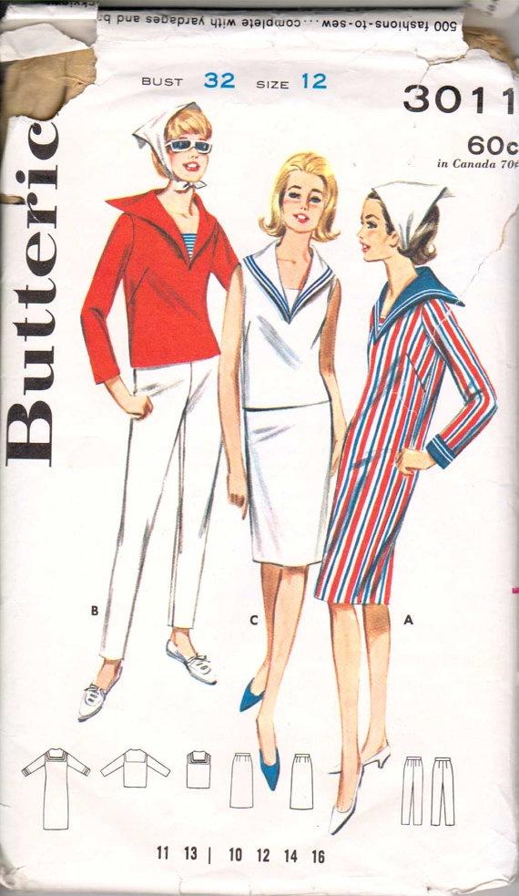 Vintage 60's Nautical Sailor Top Dress Skirt Pants by retromonkeys, $18.50