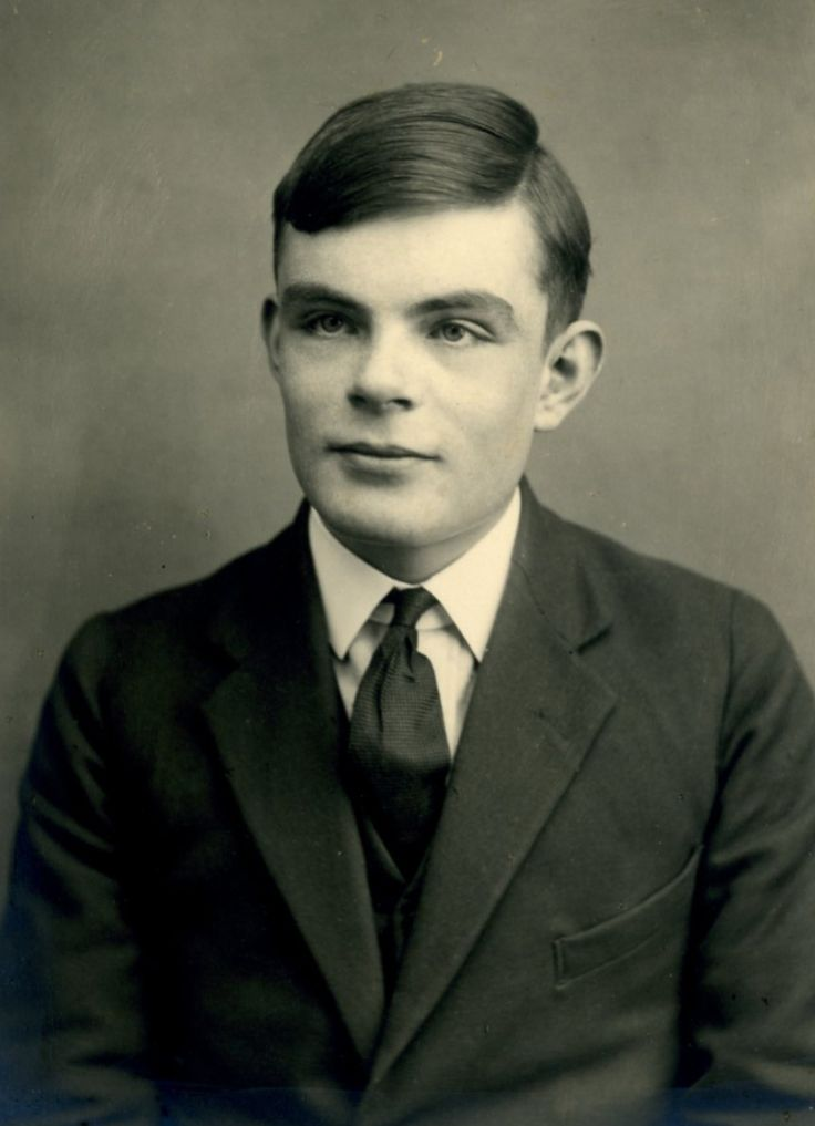 Young Alan Turing (age 16) - founder of computer science, helped win World War II by decrypting the german coding machine Enigma. After the war he was tried in court for being gay, found guilty, forced to take castration pills, and then driven to commit suicide.