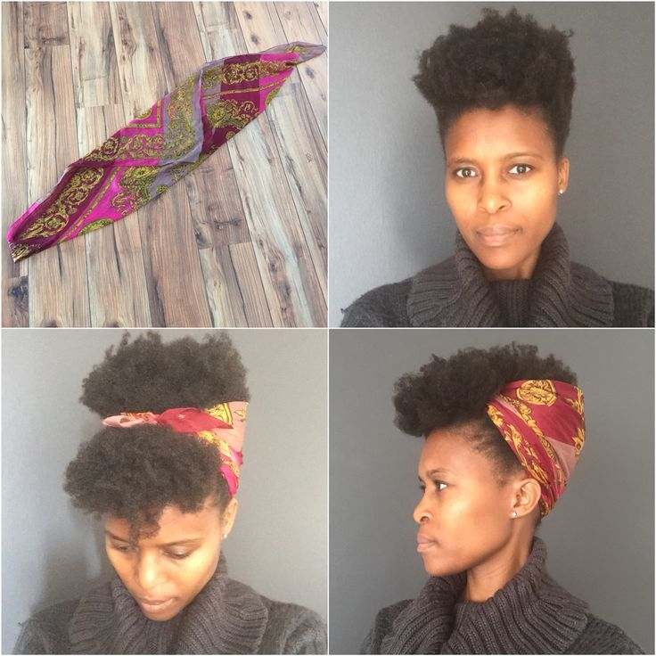 1. Fold your scarf in half, then fold in the top corner to make the scarf long 2. Pin down the the sides and back of your hair 3. Wrap the scarf from the back, over the top of the head (leaving some hair in front) 4. Fluff the hair over the scarf, so you don't see the scarf.