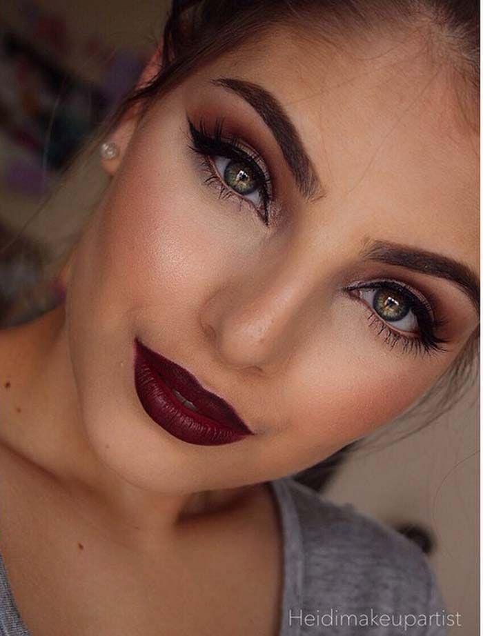 Υπέροχα μακιγιάζ με σκούρα κόκκινα χείλη (2)