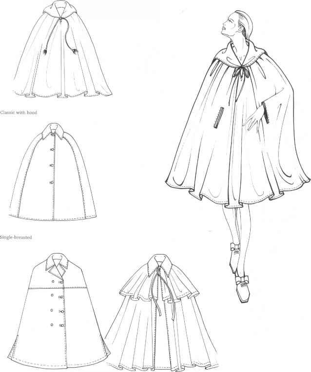 cape flat drawing fashion illustration