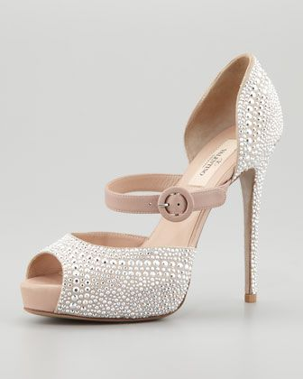 Rockstud Microstud Mary Jane, Silver by Valentino at Neiman Marcus.