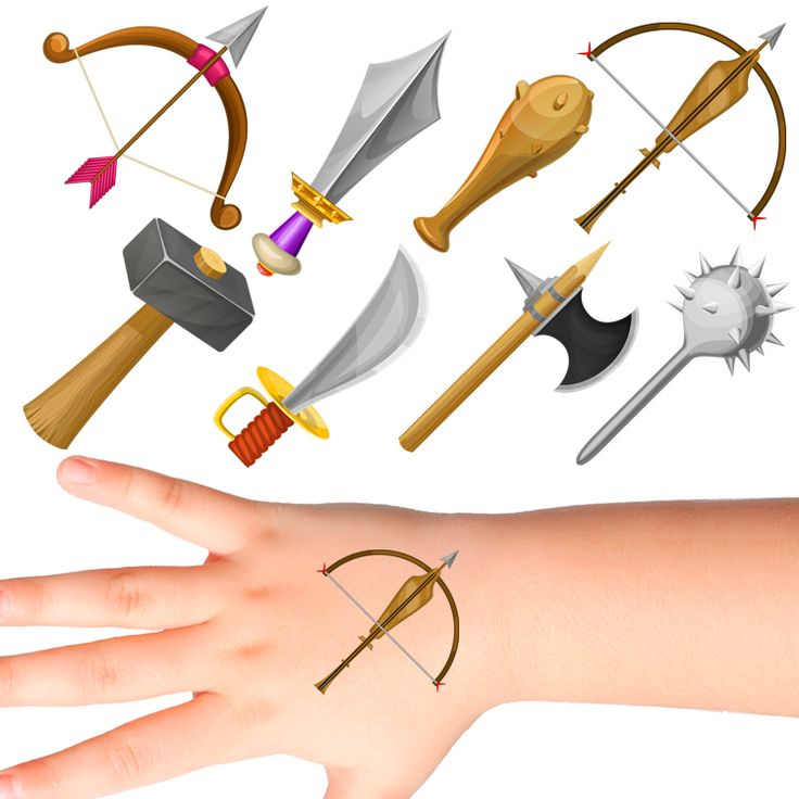Weapons Temporary Tattoos for Kids #930 (32 pack)