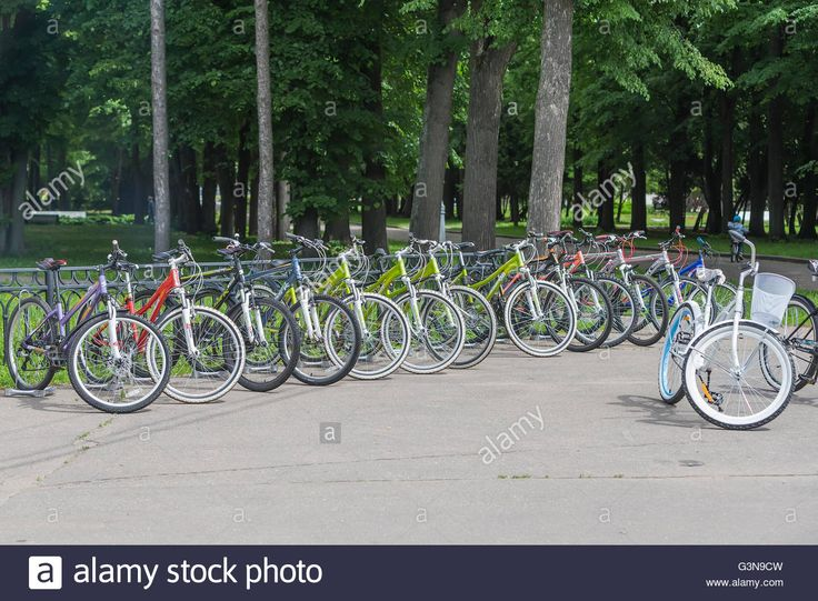 Download this stock image: Rent a bike at the port of the River station, Moscow, Russia - G3N9CW from Alamy's library of millions of high resolution stock photos, illustrations and vectors.