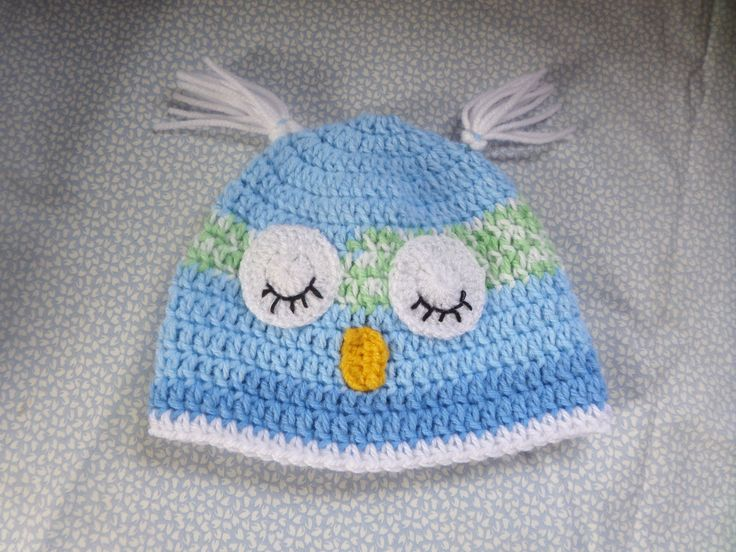 babies hat, 3 to 9 months, owl beanie hat, hand crochet, blue green white, sleeping eyes, ear tufts, other sizes made, photo shoot item, by MaddisonsRainbow on Etsy