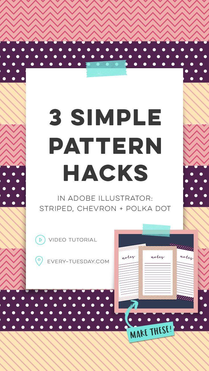 Video tutorial: 3 Simple Pattern Hacks in Adobe Illustrator: Striped, Chevron, Polka dot.