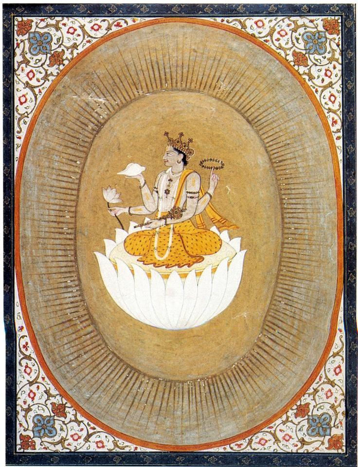 Vishnu within the Cosmic Egg, Pahari style, gouache, 19th c.