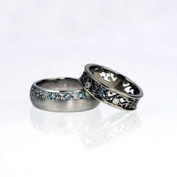 Aquamarine wedding ring set, white gold wedding ring, white sapphire wedding, men aquamarine ring, unique, matching wedding, blue