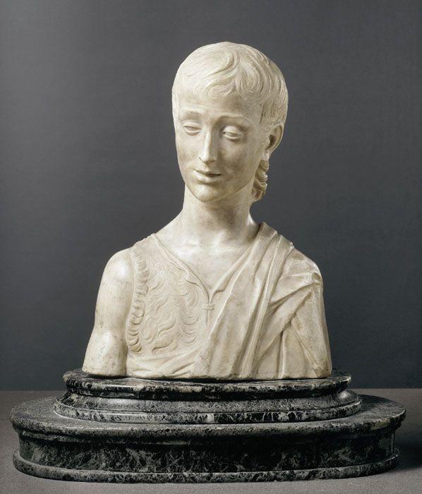 Desiderio da SETTIGNANO ? Settignano, vers 1430 - Florence, 1464  Saint Jean-Baptiste  Marbre H. : 0,49 m. LOUVRE