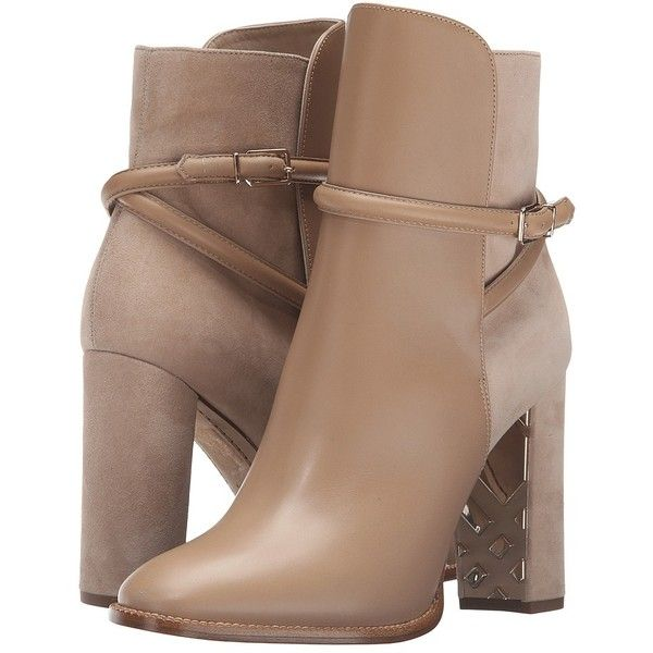 Burberry Shola (Light Nude) Women's Boots (£815) ❤ liked on Polyvore featuring shoes, boots, ankle booties, heels, ankle boots, thick heel booties, leather boots, pointy-toe ankle boots, pointed toe ankle boots and chunky heel bootie