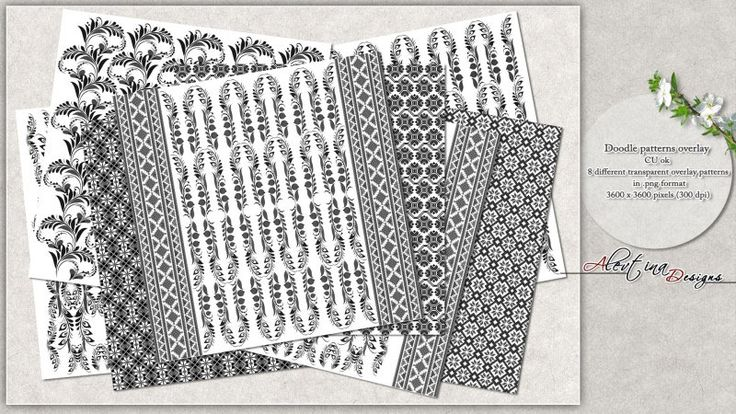 Set of 8 digital paper overlays- Doodle patterns overlay - vol.2 - CU ok