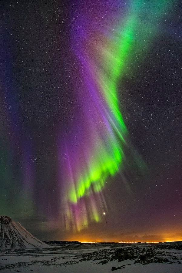 Purple Rain || Powerful northern lights over Iceland