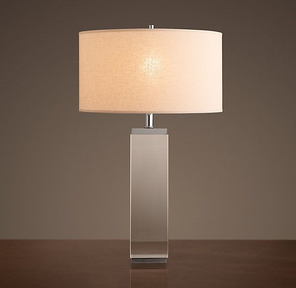 Square column table lamp crystal