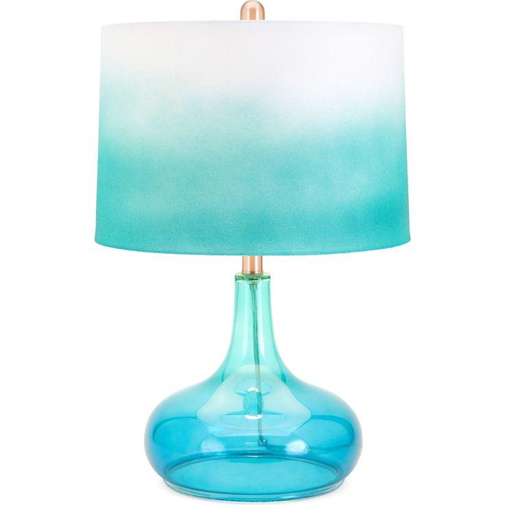 Glass Table Lamp in Blue Glass w/ Ombre Shade #dynamichome #lamp #table #glass #ombre #blue #lighting #coastal #beach #lake #house #decor #design #style #light #bedroom #livingroom #diningroom #accent #homedecor #interiors #interiordesign