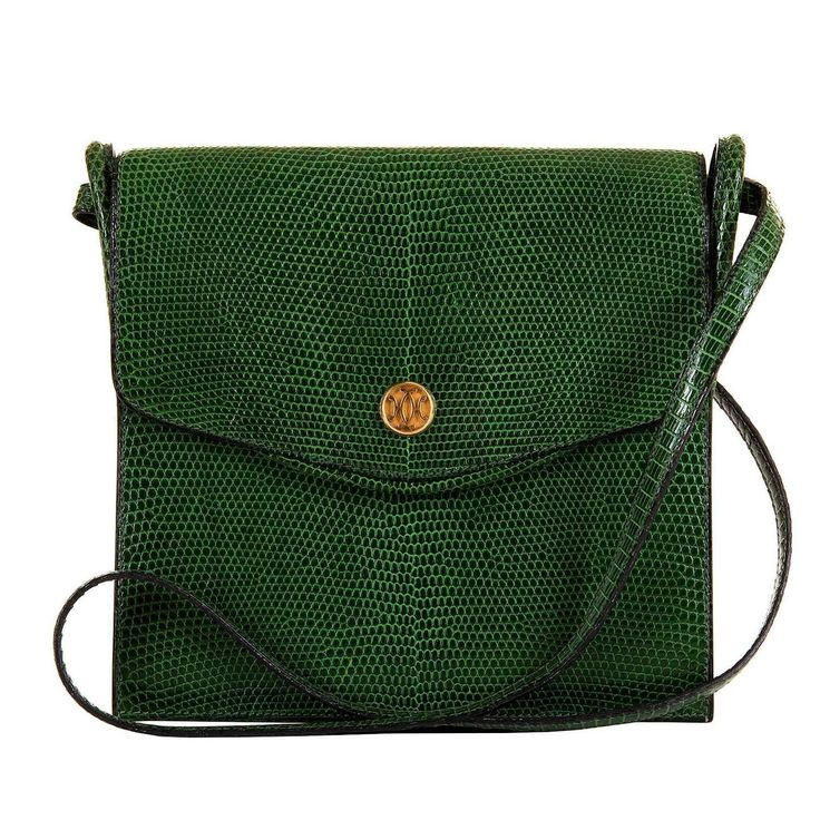 VERY RARE Hermes Vintage Green Lizard Shoulder Bag with 'Bronze Dore' Clasp | From a collection of rare vintage shoulder bags at https://www.1stdibs.com/fashion/handbags-purses-bags/shoulder-bags/