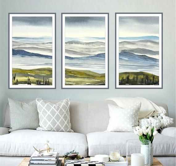 Matching Three Print Set Large Vertical Landscape Art Trio Etsy Abstract Watercolor Landscape Large Wall Art Extra Large Wall Art