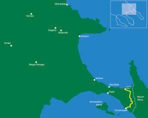 Following the borderline to Athos (pilgrimage route) From Komitsa Beach to Ouranoupoli