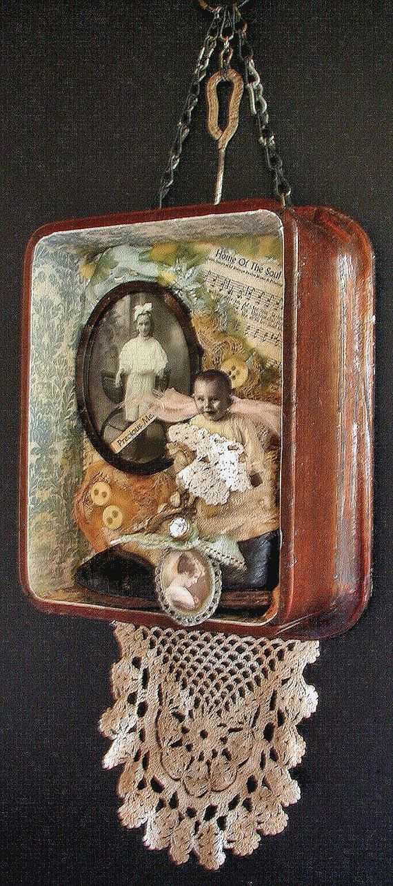 Love the use of a nice old box! Assemblage Art Shadow Box Vintage Antique Materials Baby Shoe Lace Blue OOak on Etsy, $95.00