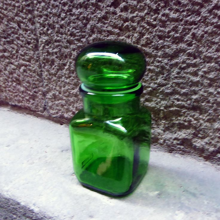 Tarro de farmacia boticario de cristal verde esmeralda |