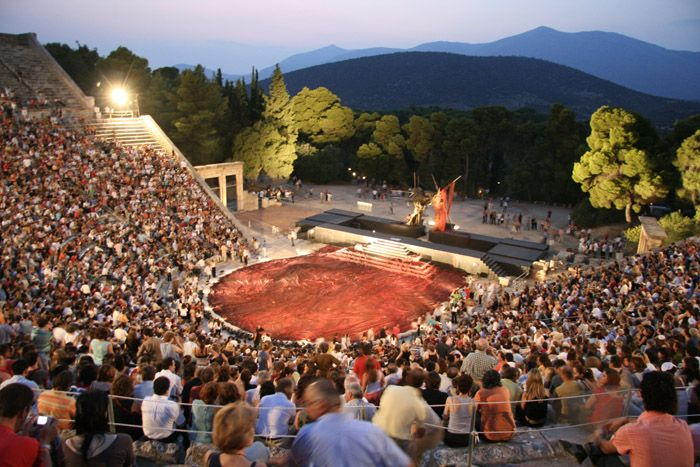 Epidaurus Festival at the Odeon of Herodes Atticus Theater in #Athens #Greece. This ancient theater ampitheater is still used for festivals and plays every year in Greece.