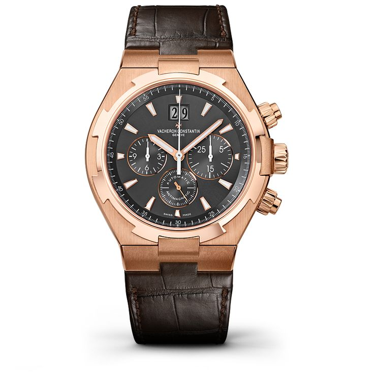 OVERSEAS CHRONOGRAPH Reference: 49150/000R-9338 Shape: Round Diameter (mm):   42.00 Thickness (mm): 12.45 Material of the case: 18K 5N pink gold Water-resistance (bar):  15 Informations Watch strap material: alligator Mississippiensis Watch strap color: dark brown Type of buckle: folding clasp Buckle material: 18K 5N pink gold Specificity:   Screwed-down pushpiece Anti-magnetic protection to 25,000 A/m
