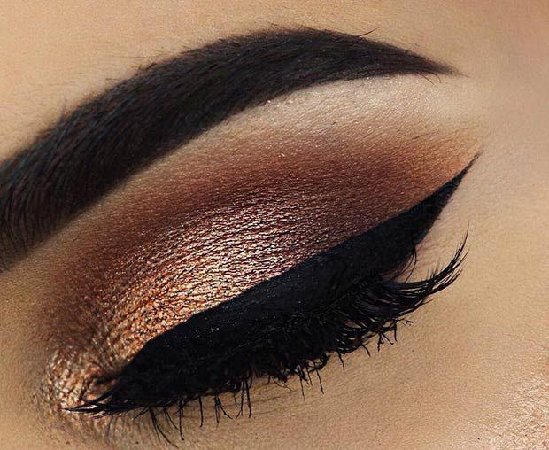 Elegant Gold and Brown Eye Makeup