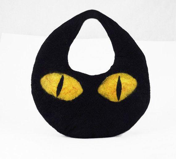 Felted Cat Bag Felted Handbag Cat Purse Clutch Felt by filcant, $99.00