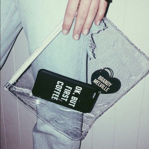 Brandy Melville Transparent Clutch sold out at brandy, worn a few times, great condition. has a wristlet strap Brandy Melville Bags Clutches & Wristlets