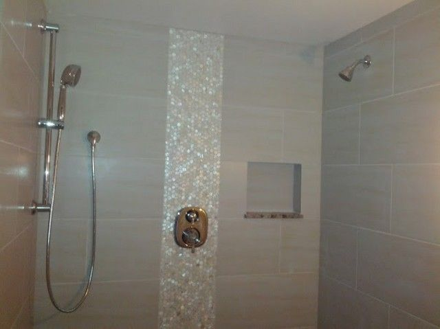 mother of pearl accent tile in shower