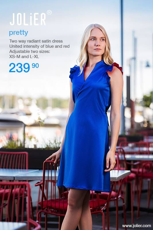 Two way red/blue radiant satin dresses in stock! Shop online at www.jolier.com -Free delivery and return. Since 2008✌️JOLIER 🎀 Finland #slowfashion #businesscasual #ethicalfashion #sustainablefashion