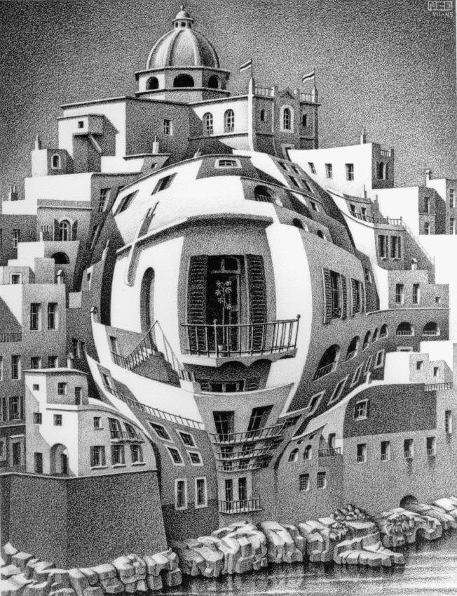 """Balcón, litografía realizada por Escher en 1941, y de la que dijo """"fue un intento de romper las dos dimensiones del papel fingiendo pegarle un puñetazo por detrás"""". Al ver esta litografía me he acordado de una de las  tareas realizadas en DA1, y de una de las tareas realizadas este trimestre. Además de evocarme recuerdos, me aparece una obra muy interesante, la calidad de su trazado, se aprecia mucho mejor cuando se observa desde lejos."""