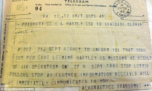Correspondence between FO Hartley's commanding officer and his parents were also put up for sale. The first messages (pictured) told how their son was missing and chances of rescue were 'not very great'