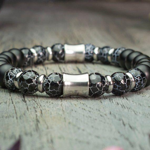 Bracelet Homme/Femme perles Ø8mm en pierre naturelle Agate Toile d'araignée facette Agate/Onyx Noir Mat Anneaux Acier inoxydable fait Main
