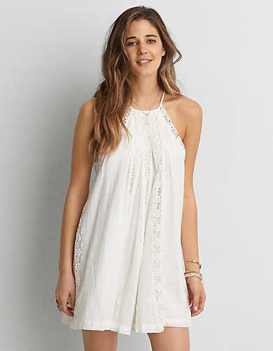AEO Lace Inset Dress , Cream | American Eagle Outfitters