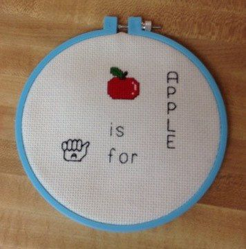 A is for Apple Cross Stitch by TheRustyCoyote on Etsy https://www.etsy.com/listing/237578911/a-is-for-apple-cross-stitch