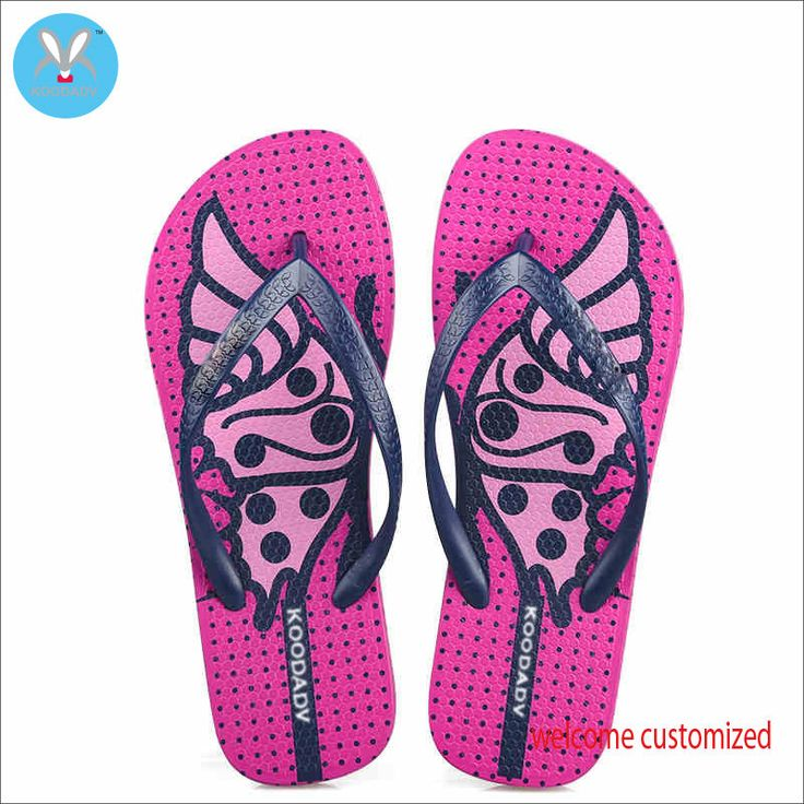 Women's Casual Pink Rubber Flip Flops Slippers Butterfly Print