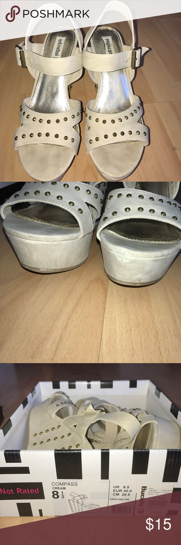 Not Rated Wedges from Buckle Good condition. The only thing wrong with these is a small scuff on the end (shown in pictures). Not Rated Shoes Wedges