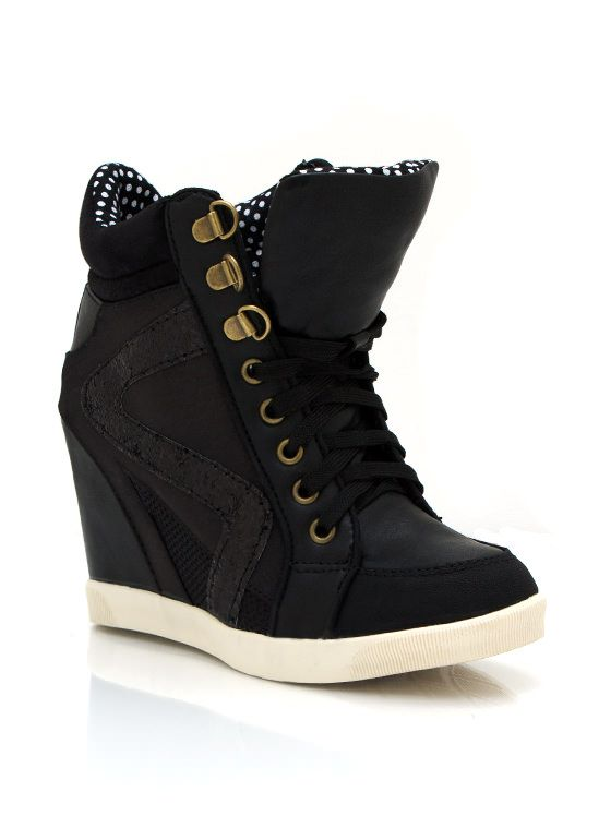 Get your glam on with these single sole wedge sneakers.